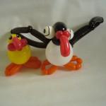 Ballontiere Papageientaucher mit Küken